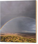 Rainbow Over Desert Wood Print
