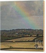 Rainbow Over Fields Wood Print