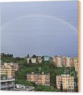 rainbow over Genova Wood Print