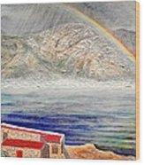 Rainbow Over Hermanus Wood Print