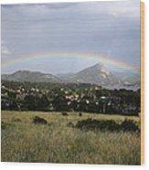 Rainbow Over Lake Estes Wood Print