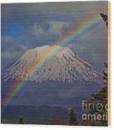 Rainbow Over Mount St. Helens  Wood Print