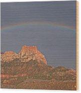 Rainbow Over Mt Johnson Wood Print