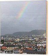 Rainbow Over Oslo Wood Print