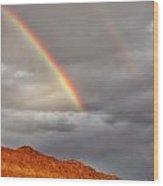 Rainbow Over Rocks Wood Print