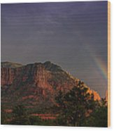 Rainbow Over Sedona  Wood Print