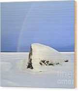 Rainbow Over The Frozen Lake Wood Print