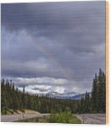 Rainbow Over The Mountains Wood Print