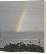 Rainbow Over The Ocean Wood Print