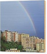 Rainbow Over The Town Wood Print