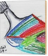 Rainbow Paintbrush Wood Print