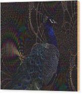 Rainbow Peacock Fractal Wood Print