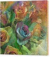 Rainbow Roses Wood Print by Carol Cavalaris