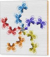 Rainbow Roses In White Wood Print