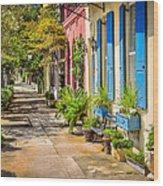 Rainbow Row Sidewalk Wood Print
