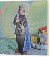 Rainbow Sherbet Little Ninja Boy Wood Print