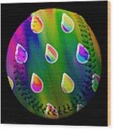 Rainbow Showers Baseball Square Wood Print