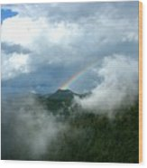 Rainbow Shrouded In Mist Wood Print