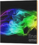 Rainbow Smoke Wood Print
