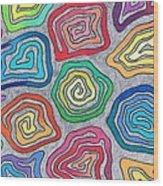 Rainbow Snails Wood Print
