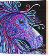 Rainbow Spotted Horse2 Wood Print
