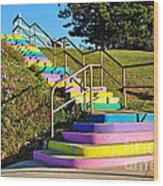 Rainbow Steps Wood Print