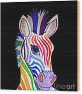Rainbow Striped Zebra 2 Wood Print