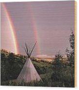 Rainbow Tipi Wood Print