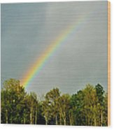 Rainbow To The Clouds Wood Print