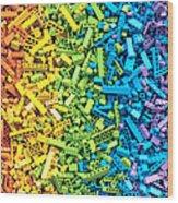 Rainbow Toy Blocks Background. 3d Wood Print