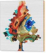 Rainbow Tree 2 - Colorful Abstract Tree Landscape Art Wood Print
