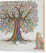 Rainbow Tree Dreams Wood Print