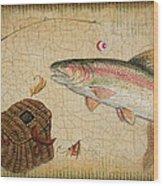 Rainbow Trout-basket Weave Wood Print