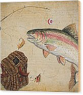 Rainbow Trout Wood Print by Jean Plout