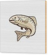 Rainbow Trout Jumping Cartoon  Wood Print