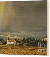 Rainbow Over The Tower Wood Print