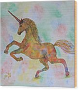 Rainbow Unicorn In My Garden Original Watercolor Painting Wood Print
