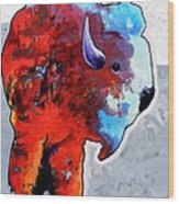 Rainbow Warrior Bison Wood Print