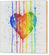 Rainbow Watercolor Heart Wood Print