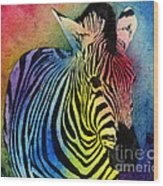 Rainbow Zebra Wood Print
