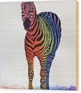 Rainbow Zebra Iv Wood Print