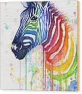 Rainbow Zebra - Ode To Fruit Stripes Wood Print