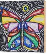 Rainbows And Butterflies Wood Print