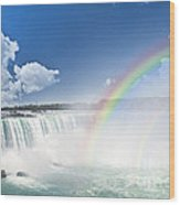 Rainbows At Niagara Falls Wood Print