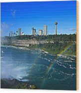 Rainbows Over Niagara Wood Print