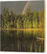 Rainbows Over Otter Lake Wood Print by Thomas Pettengill