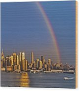 Rainbows Over The New York City Skyline Wood Print by Susan Candelario