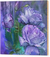 Raindrops On Lavender Roses Wood Print