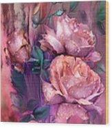 Raindrops On Peach Roses Wood Print