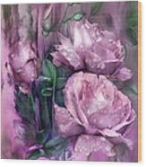 Raindrops On Pink Roses Wood Print